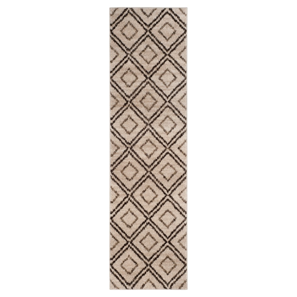 Creme/Brown Abstract Loomed Runner - (2'3x8' Runner) - Safavieh