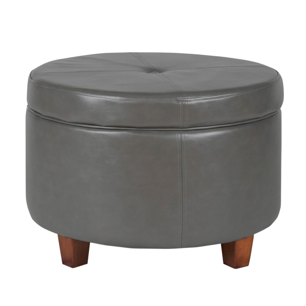 Homepop Large Faux Leather Round Storage Ottoman - Charcoal was $104.99 now $78.74 (25.0% off)