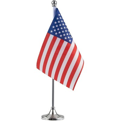 Juvale US American Desk Flag with Gold Stand for USA Patriotic Indoor Desk Table Party Decor, 8 x 5.5 in