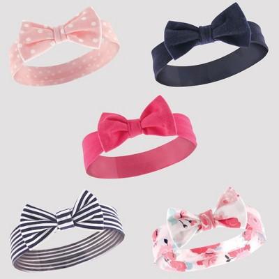 Hudson Baby Girls' 5pk Headbands, Stripe - Navy 0-12M