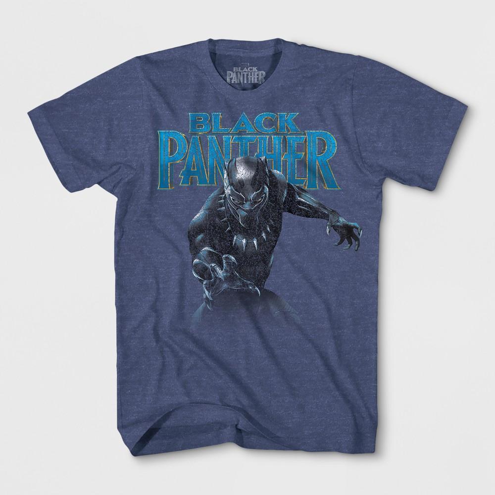 Boys' Marvel Black Panther Short Sleeve T-Shirt - Denim Heather XS, Blue