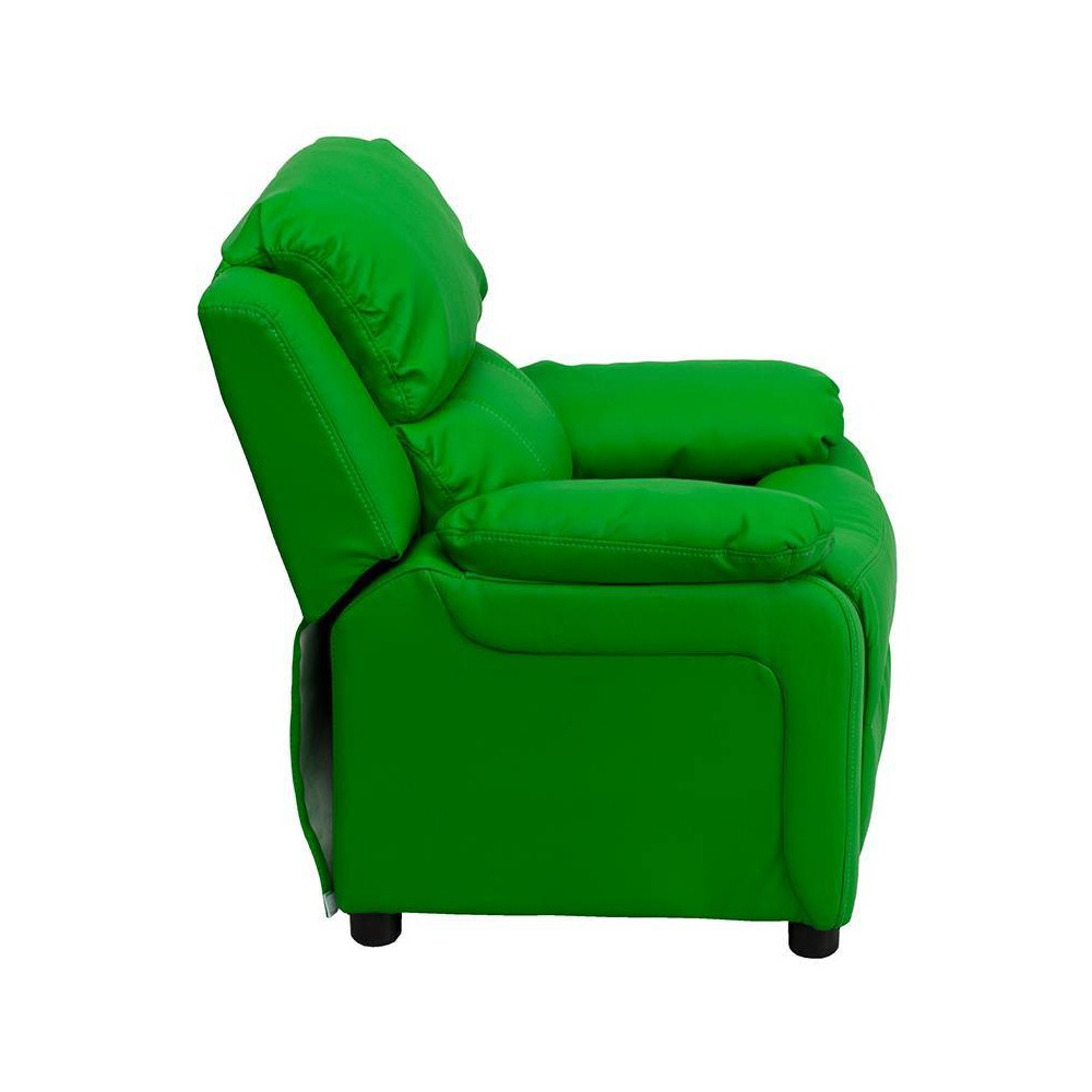 Deluxe Padded Contemporary Kids Recliner with Storage Arms Vinyl Green - Riverstone Furniture