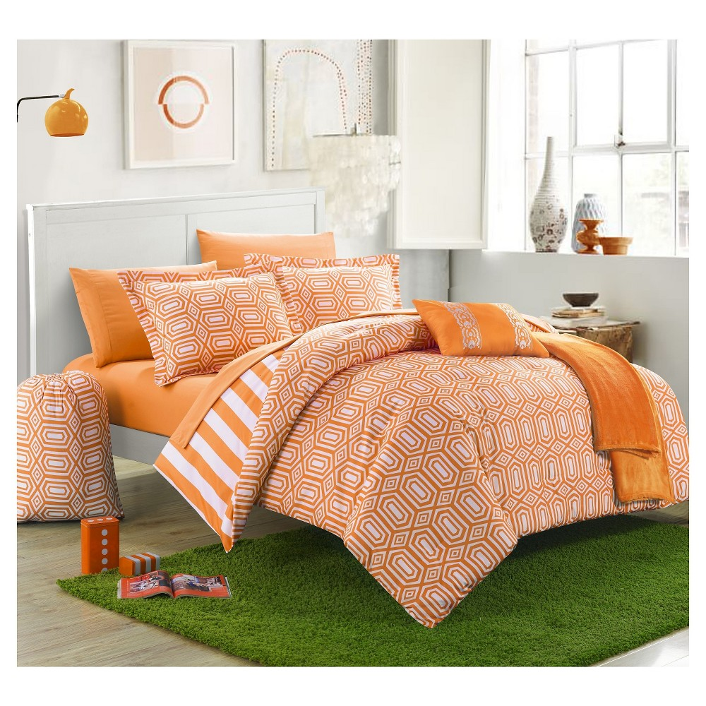 Nantes Geometric and Striped Printed Reversible Comforter Set 10 Piece (Full) Orange- Chic Home Design, Orange