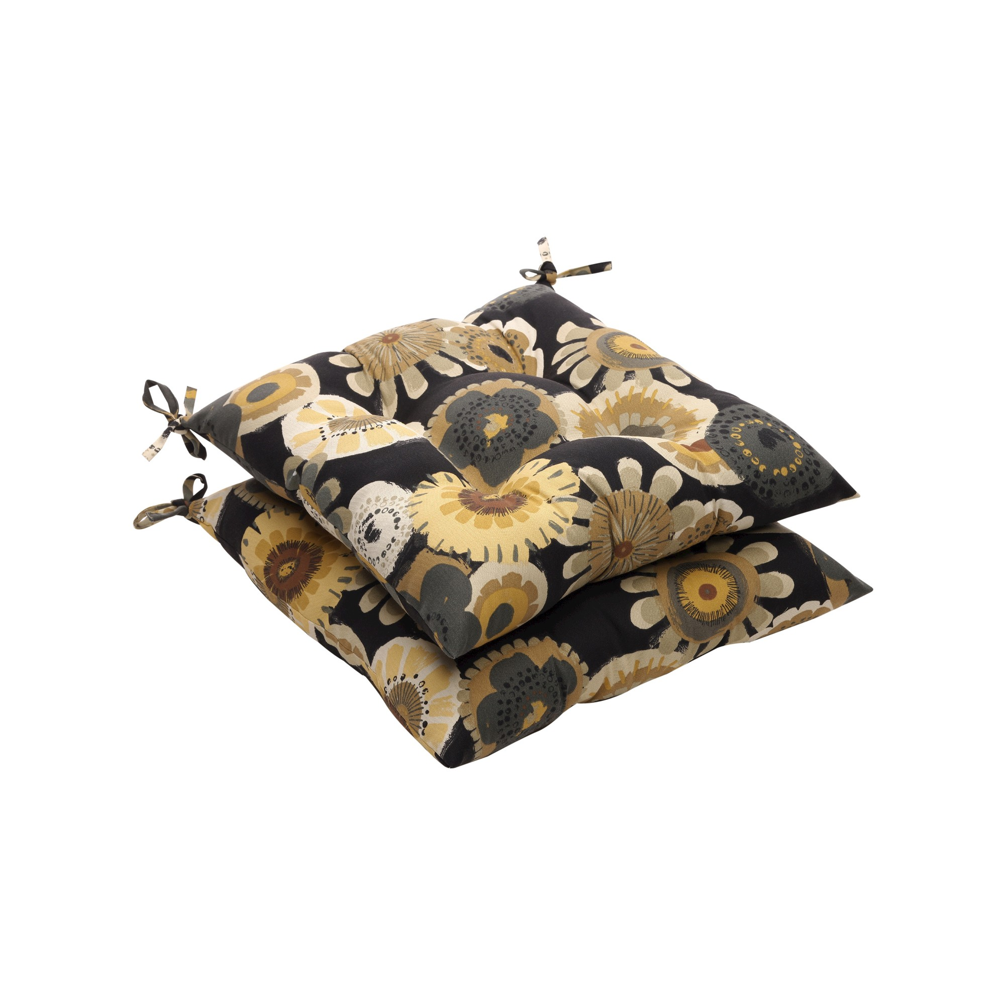 Outdoor 2-Piece Tufted Chair Cushion Set - Black/Yellow Floral