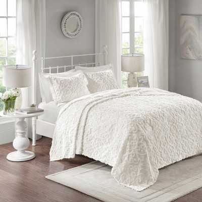 White Amber Cotton Chenille Bedspread Set (King/California King)