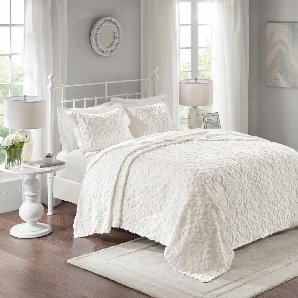 White Amber Cotton Chenille Bedspread Set (King/California King)