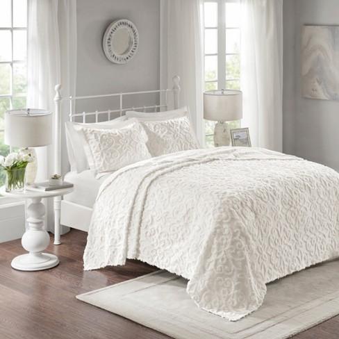 White Amber Cotton Chenille Bedspread Set King California King