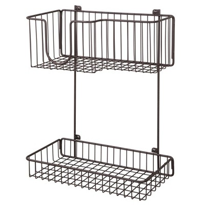 mDesign Metal 2-Level Wall Mount Laundry Storage Baskets, Iron Holder