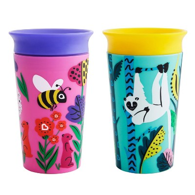 Munchkin Miracle 360° Wild Love Sippy Cup - 2pk/18oz Total Lemur/Bee