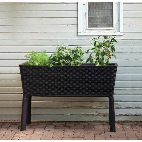 Easy Grow Elevated Rectangular Planter Brown Keter Target