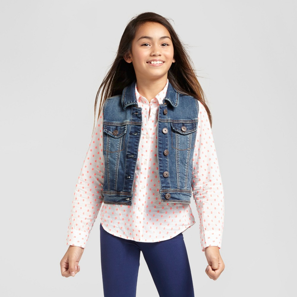 Girls' Jean Vest - Cat & Jack Dark Vintage Wash S, Blue