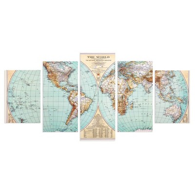 Set of 5 Large Vintage World Map Canvas Panel Wall Art - Patton Wall Decor