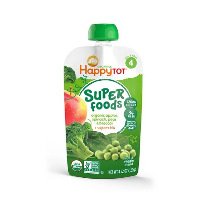 HappyTot Super Foods Organic Apples Spinach Peas & Broccoli with Super Chia Baby Food Pouch - 4.22oz