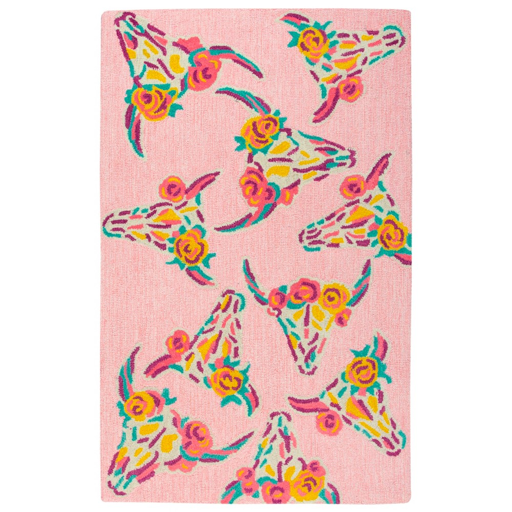 "Image of ""2'6""""X4' Tufted Skull Accent Rug Pink - Rizzy Home"""