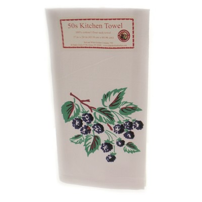 """Tabletop 24.0"""" Blackberries Flour Sack Towel 100% Cotton Fruit Spring Summer Red And White Kitchen Company  -  Kitchen Towel"""