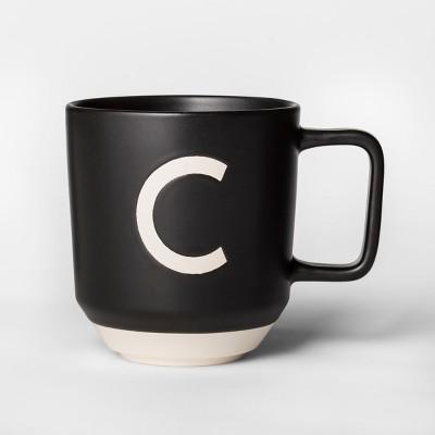 16oz Monogram Stoneware Mug Black/White C - Project 62™