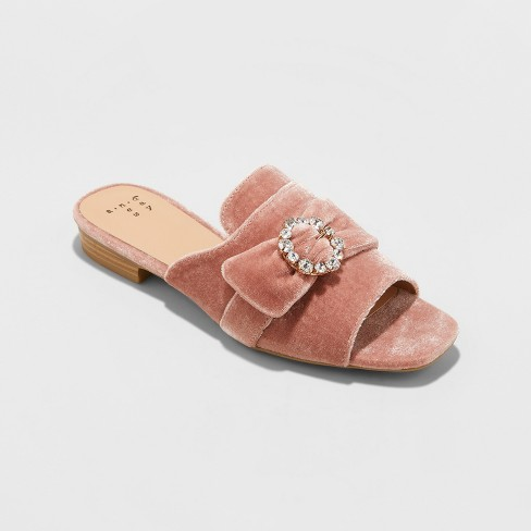 Women's Dina Velvet Embellished Slide Sandals - A New Day™ Blush - image 1 of 3