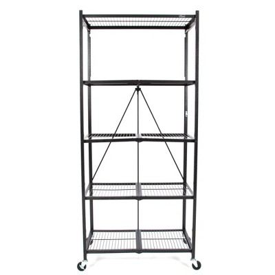 "Origami Large Wheeled 5-Shelf Folding Steel Wire Shelving, Black (21""x36""x78"")"