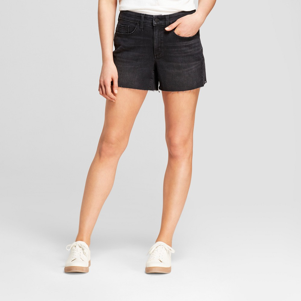Women's High-Rise Midi Jean Shorts - Universal Thread Black 12
