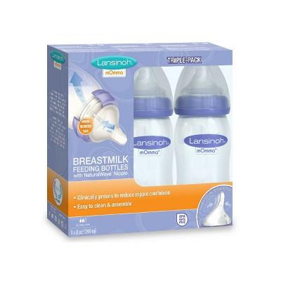 Lansinoh mOmma Feeding Bottle 8oz 3pk, Clear