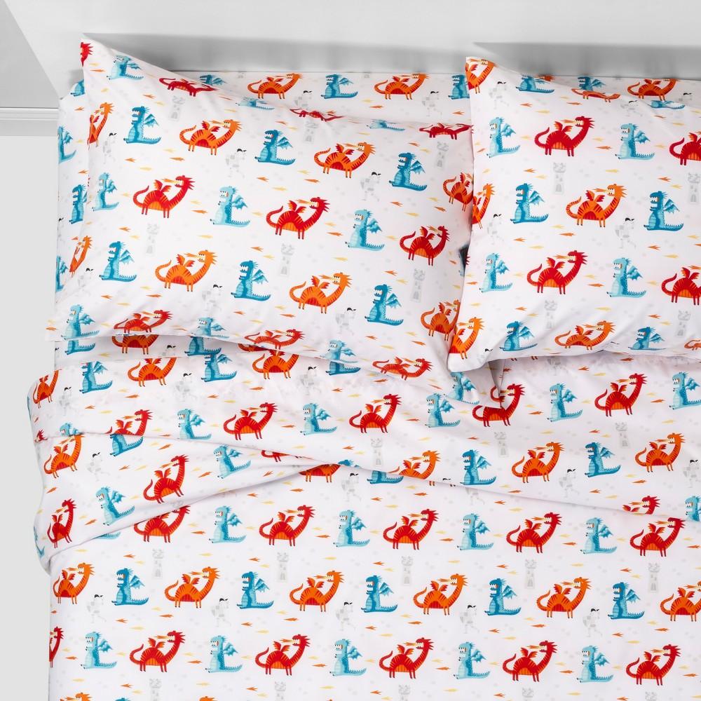 3pc Twin Dragon Dreams Microfiber Sheet Set - Pillowfort, Multicolored