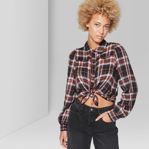 Women's Long Sleeve Button-Down Western Plaid Shirt - Wild Fable™ Burgundy M - image 1 of 3