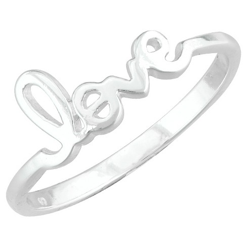 "Silver Plated ""Love"" Ring - Size 6 - image 1 of 1"