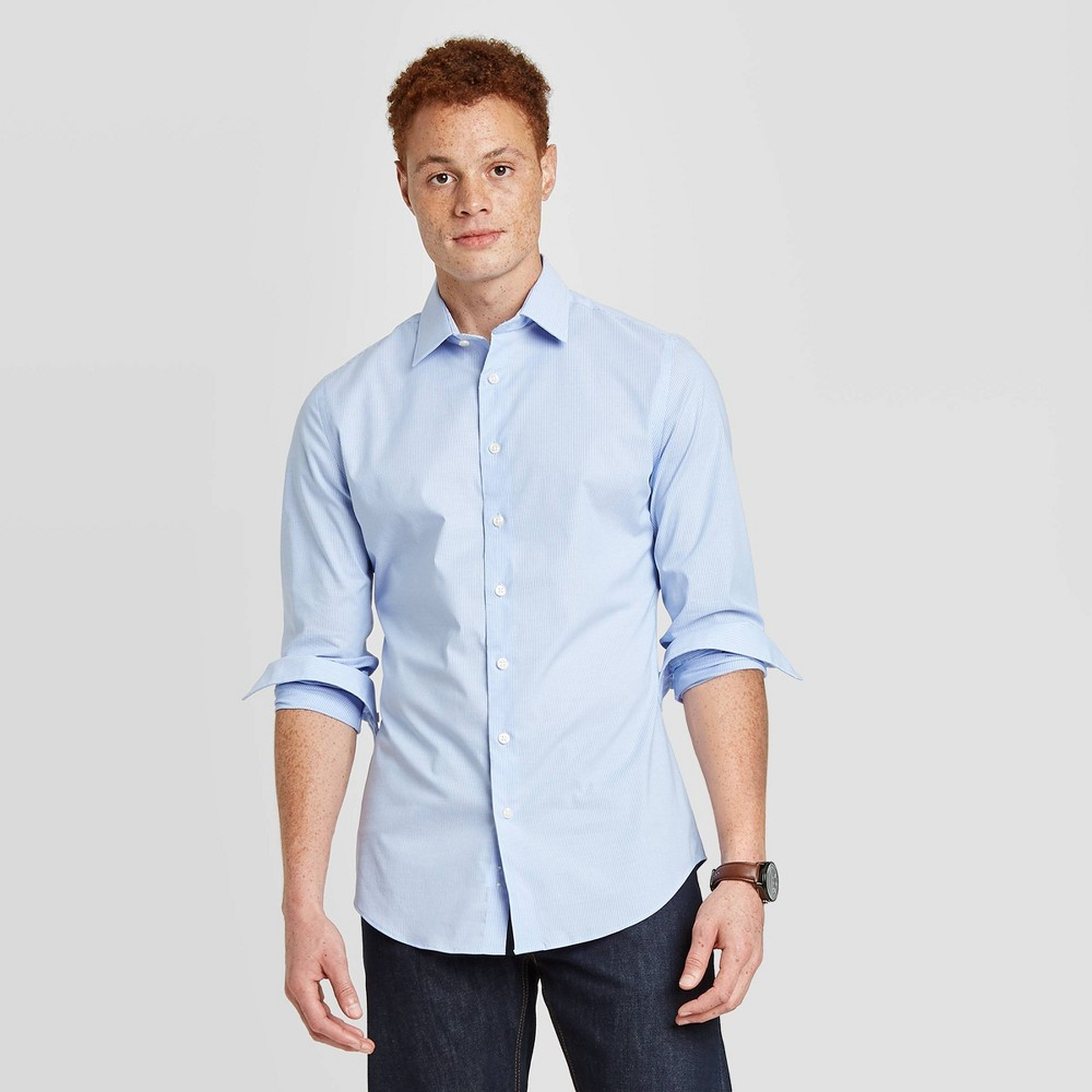 Men 39 S Striped Slim Fit Non Iron Dress Long Sleeve Button Down Shirt Goodfellow 38 Co 8482 Blue M