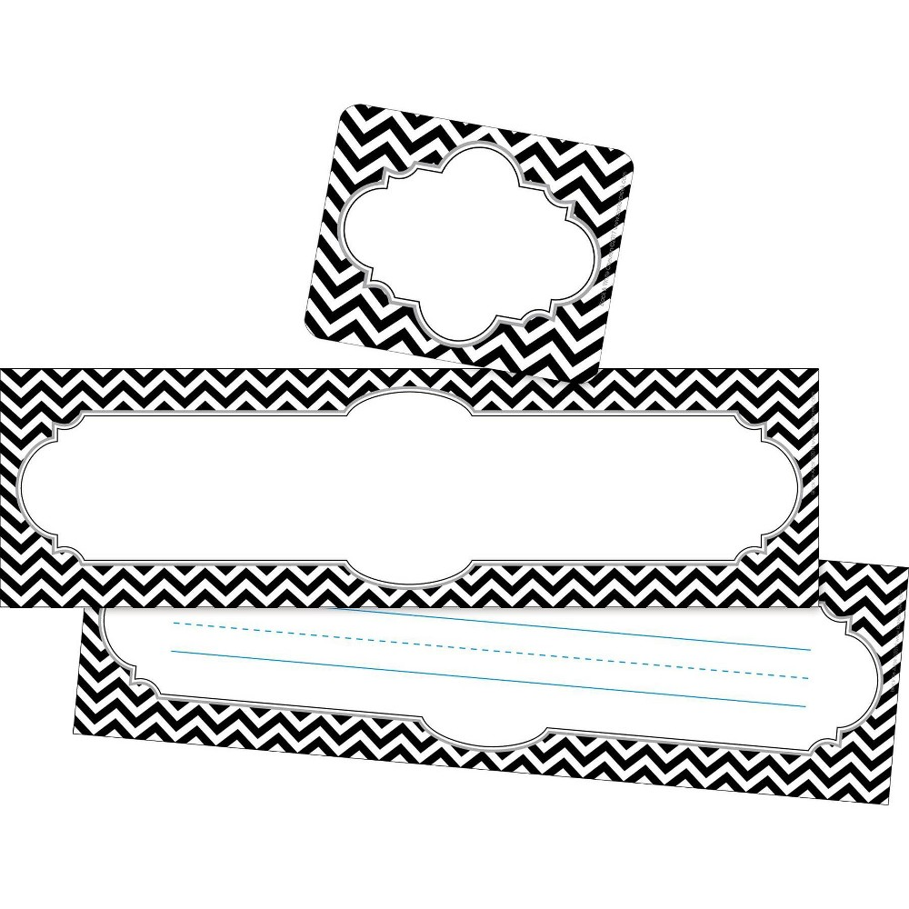 Image of Barker Creek 81pc Chevron Black Tie Affair Nametag and Name Plate Set