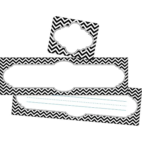 Barker Creek 81pc Chevron Black Tie Affair Nametag and Name Plate Set - image 1 of 4