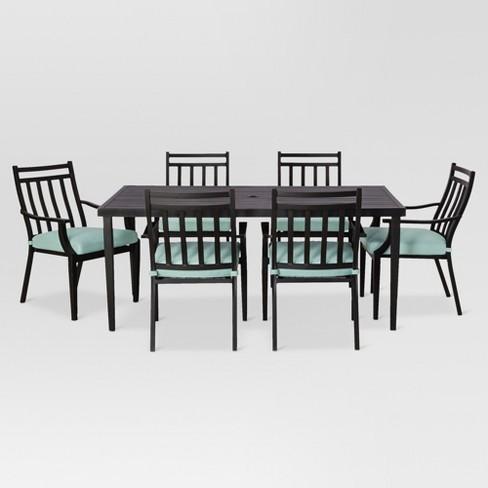 Amazing Fairmont 7Pc Rectangle Steel Patio Dining Set Aqua Threshold Customarchery Wood Chair Design Ideas Customarcherynet
