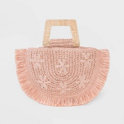 Floral Print Straw Half Moon Tote Handbag - A New Day™ Blush