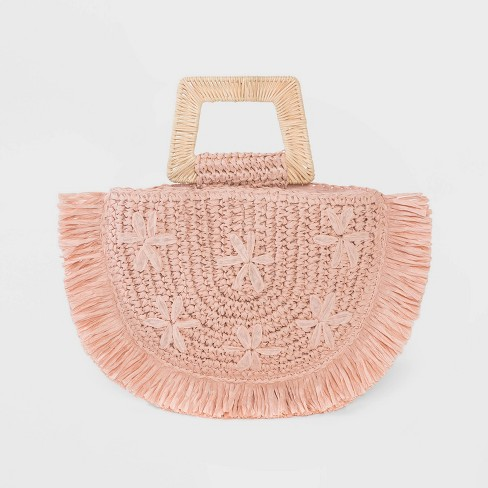 Floral Print Straw Half Moon Tote Handbag - A New Day™ Blush - image 1 of 3