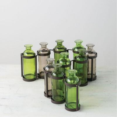 """Sullivans Ten Glass Bottle Vases 6.5""""H Green"""