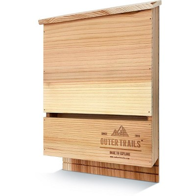 Outer Trails Bat House Outdoor Bat Habitat, Unstained All Natural Cedar Wood, 3 Chamber