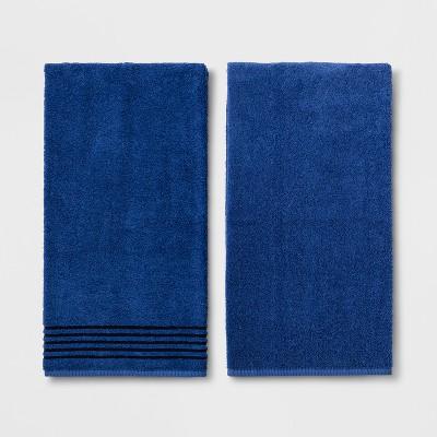 2pk Solid Bath Towel Set Dark Blue - Room Essentials™