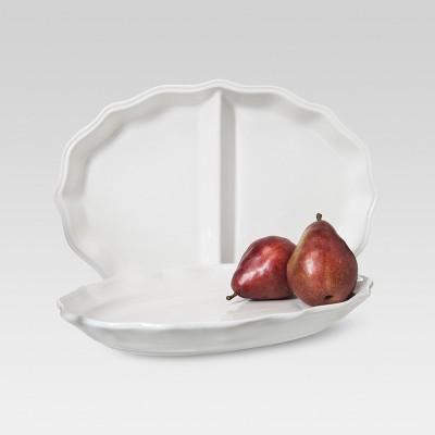 Wellsbridge Oval Serving Platter Set of 2 White - Threshold™