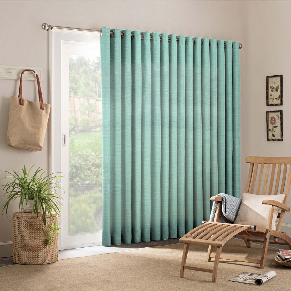 """Image of """"84""""""""x100"""""""" Key Largo Indoor/Outdoor Patio Door Curtain Panels Aqua - Parasol"""""""