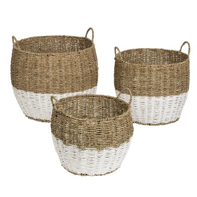 Honey-Can-Do 3pc Nested Round Baskets Light Brown