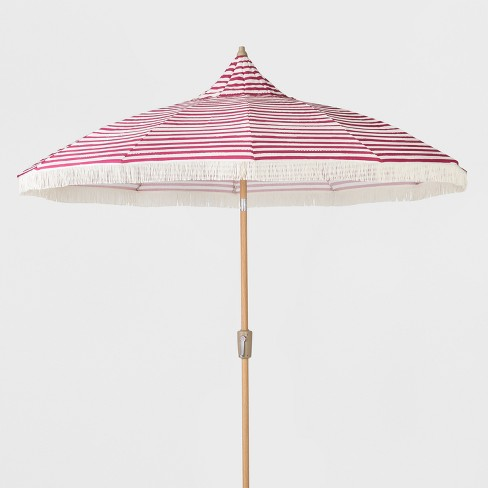 9 striped patio umbrella with fringe pink white opalhouse - Umbrella Patio