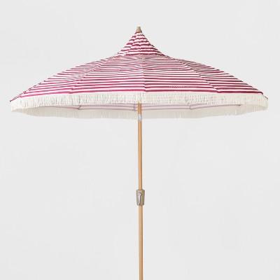 9u0027 Striped Patio Umbrella With Fringe   Pink U0026 White   Opalhouse™