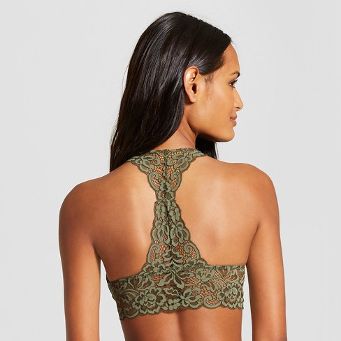 2e576277205cd Women s Padded Lace Racerback Bralette - Xhilaration™ Olive XL   Target