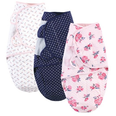 Hudson Baby Infant Girl Quilted Cotton Swaddle Wrap 3pk, Pink Navy Floral, 0-3 Months