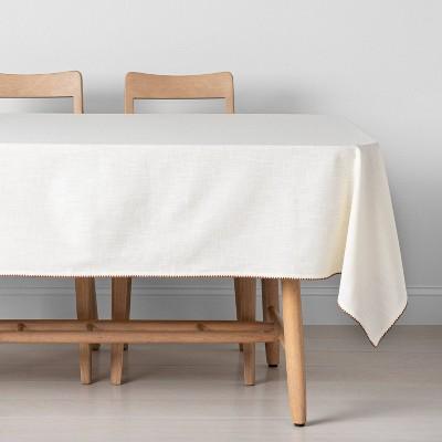Edge Stitch Tablecloth Sour Cream/Pumpkin Brown - Hearth & Hand™ with Magnolia