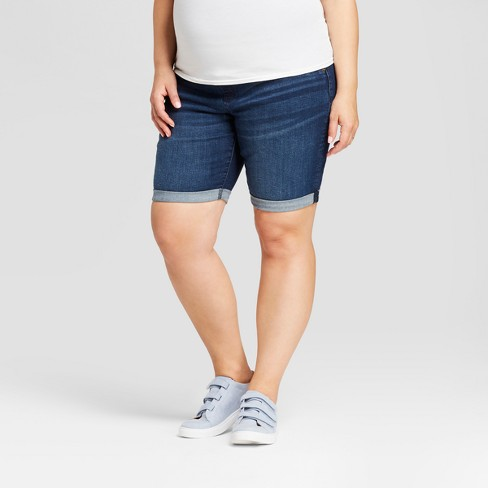 52fef9fafc116 Maternity Plus Size Crossover Panel Bermuda Jean Shorts - Isabel Maternity  by Ingrid & Isabel™ Dark Wash