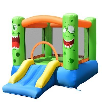 Costway Inflatable Bounce House Jumper Castle Kids Playhouse w/ Basketball Hoop & Slide