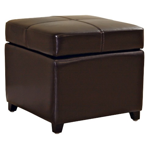 Remarkable Full Leather Storage Cube Ottoman Dark Brown Baxton Studio Andrewgaddart Wooden Chair Designs For Living Room Andrewgaddartcom