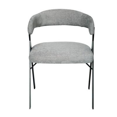 Izzy Chenille Dining Chair Gray/Black - Safavieh