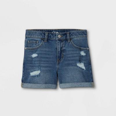Girls' Rolled Hem Jean Shorts - art class™ Blue