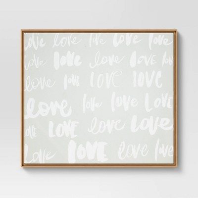 "30"" x 24"" Love Typography Framed Wall Canvas Neutral - Opalhouse™"